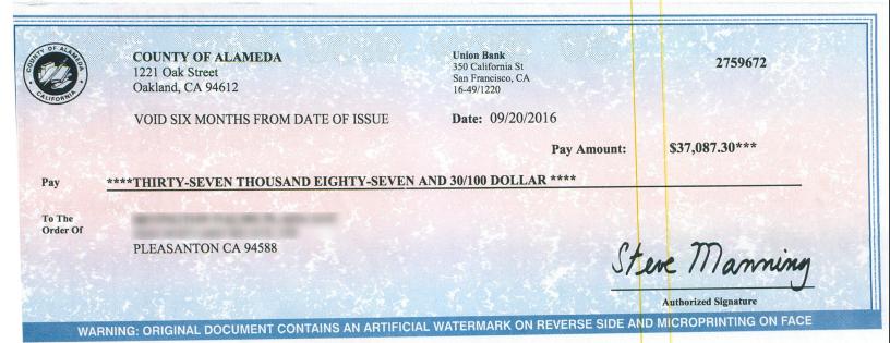 Irvington County of Alameda Refund Check